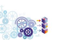 digitale Technologie und Engineering, Konzept, abstrakte Technologie isoliert auf weiß