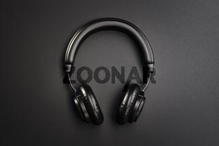 Black headphones 3D illustration