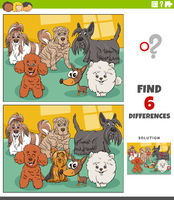 differences educational game with cartoon purebred dogs