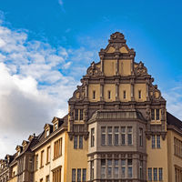 Facade of a historical building in Berlin, Germany