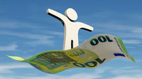Financial freedom - a person flies on a 100 Euro banknote