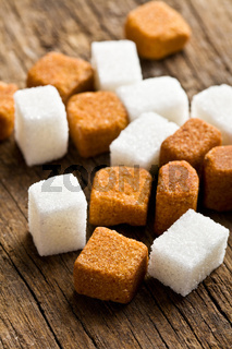brown and white sugar cubes