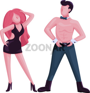 Male and female strip dancer flat color vector faceless character. Attractive man and woman dance performance. Striptease show isolated cartoon illustration for web graphic design and animation