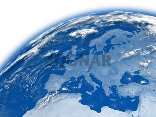 Europe on blue Earth