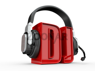 Text DJ and handphones on white isolated background. 3d