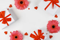 Flowers gifts and hearts background