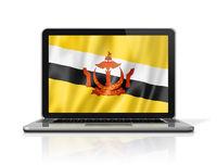 Bruneian flag on laptop screen isolated on white. 3D illustration