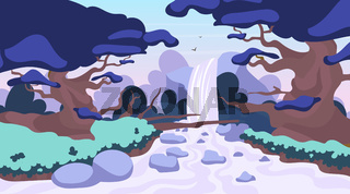 Jungle waterfall flat vector illustration. Fantasy mystical fauna. Tropical forest landscape. Panoramic scene with trees and river stream. Exotic land. Amazon waterfall. Rainforest cartoon background