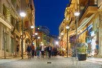 Street in Heraklion city at night