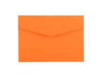Orange paper envelope isolated on white