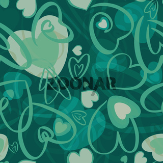 Valentines seamless pattern with hearts on green background