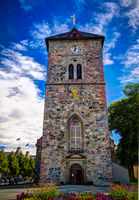 Exterior view to facade of Var Frue Kirke aka Our Lady Lutheran Church in Trondheim, Norway