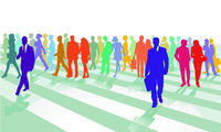 Street with pedestrians on the crosswalk, large people group illustration