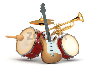 Musical instruments. Guitar, drums and trumpet.