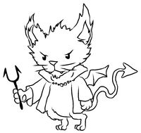 Devil Cat Line Drawing