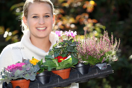 Young with plants
