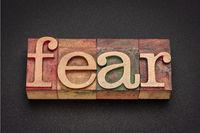 fear word abstract in letterpress wood type