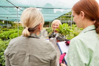 Drei Frauen als Gärtnerei Team bei der Inventur