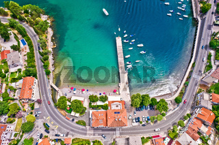 Ika village beach and waterfront in Opatija riviera aerial view
