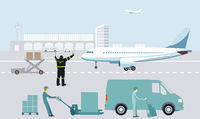 Air freight at the airport on the tarmac with airplane
