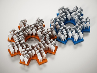 3D figures standing on connected gears. 3D illustration