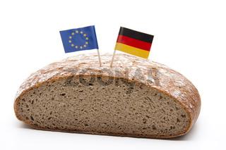 Brot mit Europa und Deutschland Flagge