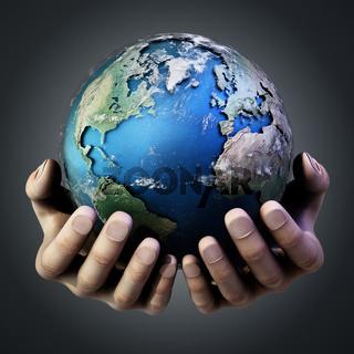 Hands holding a globe against dark background. 3D illustration