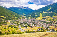 Town of Bormio in Dolomites Alps landscape view