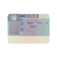 European Union visa realistic dummy template on white