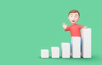 Kid 3D Cartoon Character Leaning on a Growing Bar Chart on Green with Copy Space