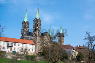The Bamberg Cathedral in the World Heritage city of Bamberg, Germany, photographed from the cathedral ground.