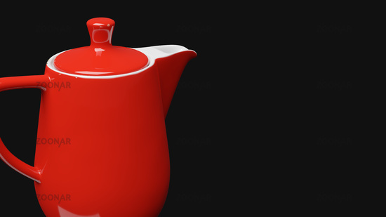 red ceramic coffee pot with fault imperfections