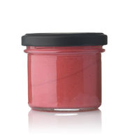 Front view of glass container of berry mousse