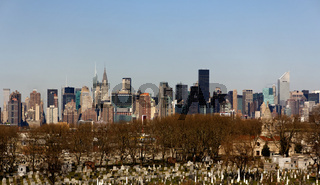 Manhattan Skyline behind Cemetery