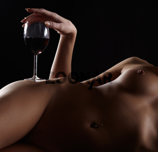 naked woman and wine