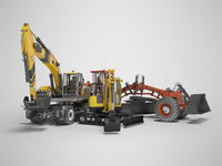 Group concept road construction equipment 3D rendering on gray background with shadow