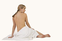 Blonde woman relaxing at spa