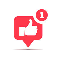 One new like red icon, social media thumbs up piktogram on white