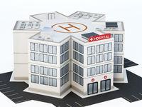 Generic hospital building isolated on white background. 3D illustration