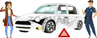 People by broken car flat color vector faceless characters. Crash site, traffic accident isolated cartoon illustration  for web graphic design and animation. Woman and policeman near wrecked auto