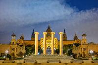 Barcelona Spain, night city skyline at National Art Museum of Catalonia empty nobody