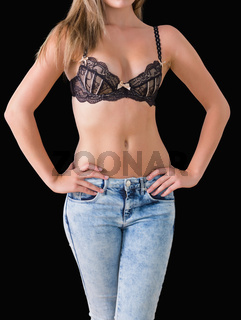 Woman wearing jeans and bra