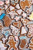 Christmas homemade gingerbread cookies. Clazed decorating gingerbread homemade cookies for christmas. Top view of cookies on table, Happy new year, celebration, overhead, top view