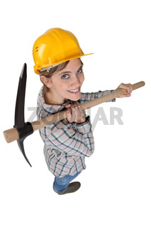 High-angle shot of a tradeswoman