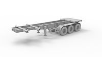 3D rendering of an ampty truck trailer semi logistics isolated on white background.