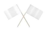 Two toothpick flags on white