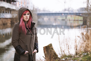 depressed and lonely young woman bleak surroundings