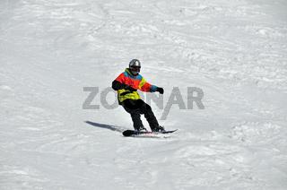 Zwölfjähriger Snowboarder, Fellhorn, Oberstdorf, Allgäuer Alpen, Oberallgäu, Bayern, Deutschland, Europa