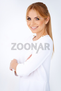 Happy attractive young blonde woman