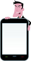 Cartoon Man Holding Smartphone Sign